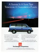 1993 GMC Safari XT Vintage Original Print AD Blue van photo dangerous road storm