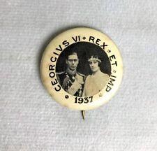 Vintage 1937 Georgivs Vi Rex Et Imp Pinback Button Pin H7