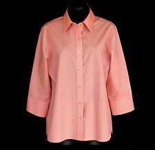 Foxcroft Sz 10 L Button Down Shirt Coral Pink Wrinkle Free Shaped Fit 3/4 Sleeve