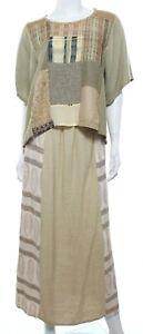 Donna Jessica Vtg 90s Women's 0 XS Beige Skirt Set Top Maxi Lagenlook Artsy EUC