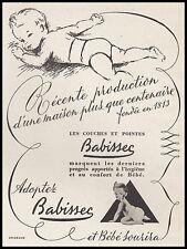 Publicité BABISSEC Couches pour Bébé layettes vintage print ad  1948 - 8h