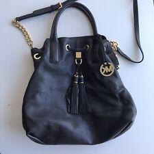 MICHAEL KORS CAMDEN black Pebbled LEATHER DRAWSTRING CROSSBODY SATCHEL BAG purse