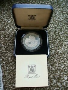1980 U/K Royal Mint Gibraltar Silver Queen Mother 80th Proof Crown Boxed + C.O.A