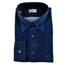 New BRIONI Royal-Blue Cotton Twill Button Down Shirt Sz III M fits L NWT