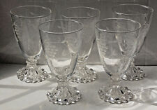 "Anchor Hocking Boopie Lot of 5 Water Goblets Clear Etched Grapes 5.5"" Tall 8 oz"