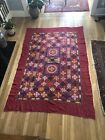 Indian Gujarat Mirror Work Embroidered Old kutchi Tapestry Chakla Cotton 90x60
