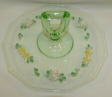 URANIUM VASELINE GLASS TIDBIT SANDWICH TRAY W/ CENTER HANDLE ENAMEL FLOWERS