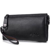 Men's Vegan Leather Wallet Long Clutch Purse Card Holder Zipper Money Coin Bag