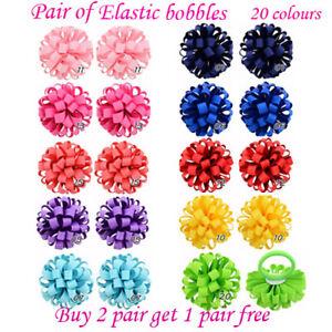Girls Corker Korker elastic bobbles Bow School Baby lot Hair flower kids Pair