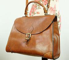 John Lewis Vegetable Tanned Tan Brown Thick Leather Saddle/Satchel Shoulder Bag