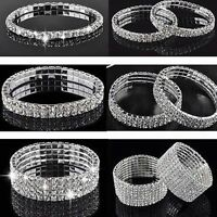 Lady Wedding Bridal Crystal Rhinestone Stretch Bracelet Bangle Wristband Gift