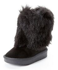 New Kids Boots Toddler Girls Alaska Long Fur Suede Fashion Shoes Warm Style--238