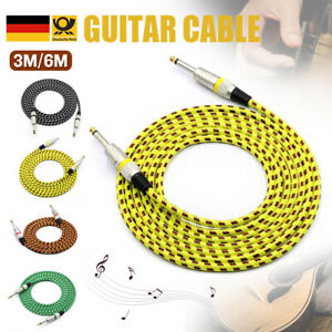 6m Audio Gitarrenkabel Klinkenkabel 6,35mm geflochten 3m