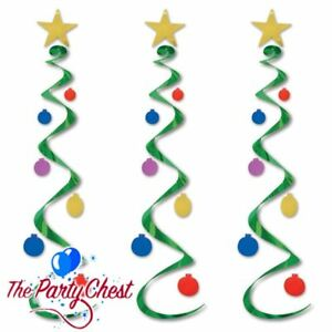 3 CHRISTMAS TREE WHIRLS HANGING SWIRL DECORATIONS Festive Party Decorations 0050