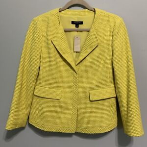 Ann Taylor Women's Yellow Citron Textured Blazer Jacket Fully Line Size 8 New