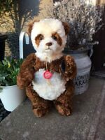 14 INCH ORIGINAL TEDDY HERMANN DAN-DAN PANDA BEAR IN BROWN & CREAM MOHAIR - RARE