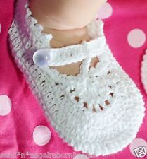 White Crochet Baby Mary Jane Shoes/ Booties for Newborn/ Reborn Doll
