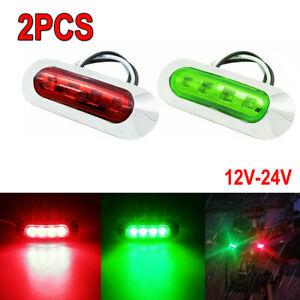 2pcs 12V Green Red LED Boat Navigation Light Deck Bow Pontoon Waterproof Lights