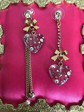 Betsey Johnson Lavender Purple Crystal AB Lucite Heart Bow Mismatch Earrings