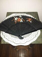 Vintage.Black.Flowered Fan.Silver Trim