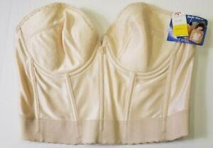 NWT Vintage CARNIVAL 40 C Cream Long Line Boned Bustier Bare-Back Low Plunge Bra