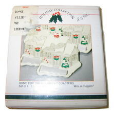 New listing Set of 4 Vtg 1987 Wm. A. Rogers Christmas Home For The Holidays Coasters New