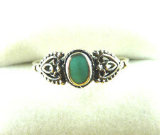 Green Turquoise Inlay 925 Sterling Silver Victorian Style Ring