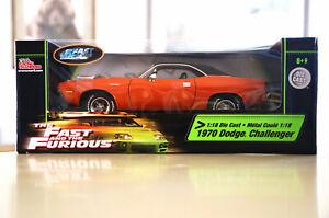 Fast and Furious Racing Champions 1:18 Diecast 1970 Dodge Challenger Hemi Orange