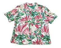 VTG 70s Pykettes Womens Pink Green Floral Tropical Button Up Blouse MEDIUM
