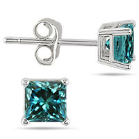 0.75 Ct Princess Cubic Zirconia Solitaire Stud Earrings In 925 Sterling Silver