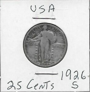 U.S.A 25 CENTS 1926-S STANDING LIBERTY QUARTER,RIGHT BREAST COVERED,TYPE 2 THREE