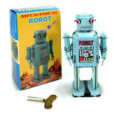 "TIN TOY BLUE MECHANICAL ROBOT 5.25"" NEW R-35 Wind Up Retro Collectible Space Age"