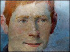 """""""Portrait d'un Jeune Adolescent Roux"""" par Pierre Villain  1880-1950 Huile/Bois"""