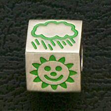 European Beads Stainless Steel Silver Green Enamel Symbols Fit Charm Bracelet