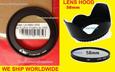 RING ADAPTER+UV FILTER+FLOWER LENS HOOD To FUJI FINEPIX 8400 S8400W 58mm S9400W