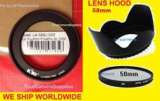 RING ADAPTER+UV FILTER+FLOWER LENS HOOD TO FUJI FINEPIX S9800 S9900W SL1000 58mm