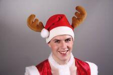 Nikolaus Mütze rot mit Geweih Elch Weihnachten Advent Weihnachtsmann Kostüm neu
