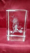 Vidrio de borde biselado 3D Láser Bloque Pisapapeles: Flor de Hadas Rosa Bay Willow