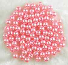 100Pcs 8mm Pink Round Acrylic Pearl Spacer Loose Beads Bracelet Necklace