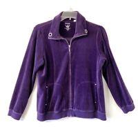 Chico's Size 2 Large Embellished Purple Velour Zip Up Jacket