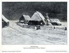 Wartan Mahokian Winterschweigen Bauernhäuser- Motiv Historischer Kunstdruck 1913