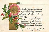 Gilman Iowa Savings Bank~Christmas Greetings~Holly Berry Roses~Embossed 1914