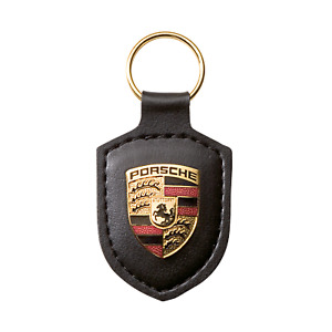 Original Porsche Schlüsselanhänger Wappen Emblem Logo Leder Schwarz WAP0500900E