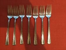 """7 Vintage Silver Plate Salad Forks Holmes And Edwards Inlaid IS """"May Queen"""""""