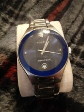 Mens Fossil Arkitekt FS-2930 solid Stainless Steel Watch with 1 Diamond