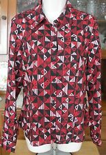 Ladies Blouse Top A LINE Brand Button Front Long Sleeve Poly Geo Print Sz 10
