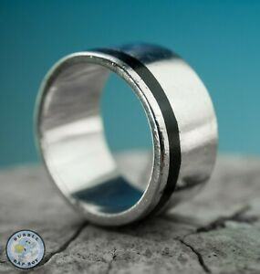 CHUNKY MENS 925 SILVER RING ENAMEL BAND HEAVY WEIGHT 18.2 GRAMS SIZE Z