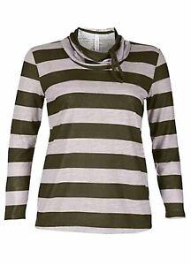 Sheego casual Pure camisa manga corta cuello redondo algodón verde