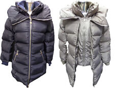 Womens Ladies New Long Winter Quilted Padded Puff Parka/Coat/Jacket (8-14)