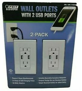 Feit Electric Wall Outlets With 2 USB Ports COSTCO#1145395 BRAND NEW SEALED